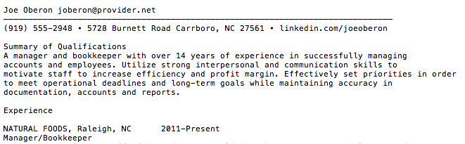 sample plain text resume clip
