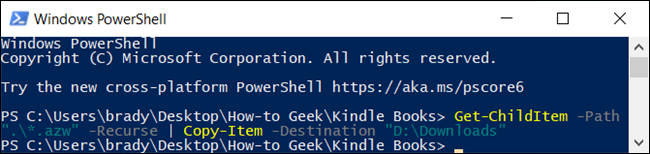 After you type the command, PowerShell searches all subfolders copies anything within the specified file extension.