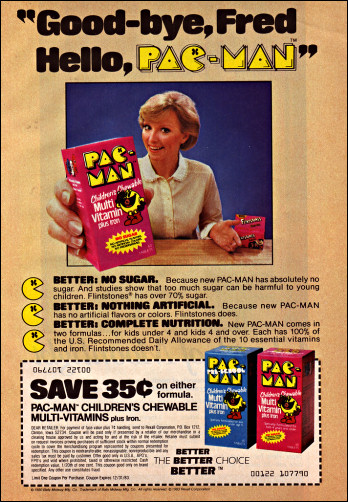 An ad for Pac-Man Children's Chewable Multi-Vitamin Plus Iron.
