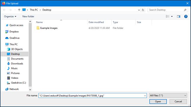 Upload window in Mozilla Firefox for Windows 10