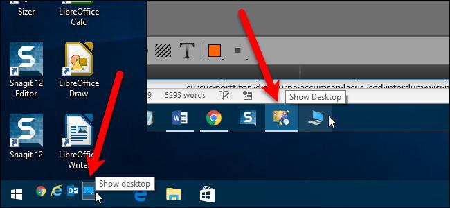Adding a Show Desktop icon to Windows 10