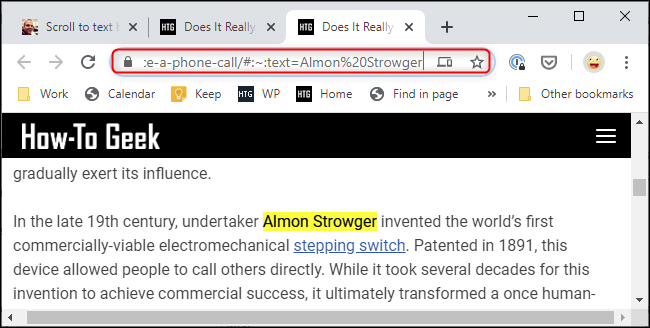 "The ""scroll to text fragment"" markup in an URL in Chrome"