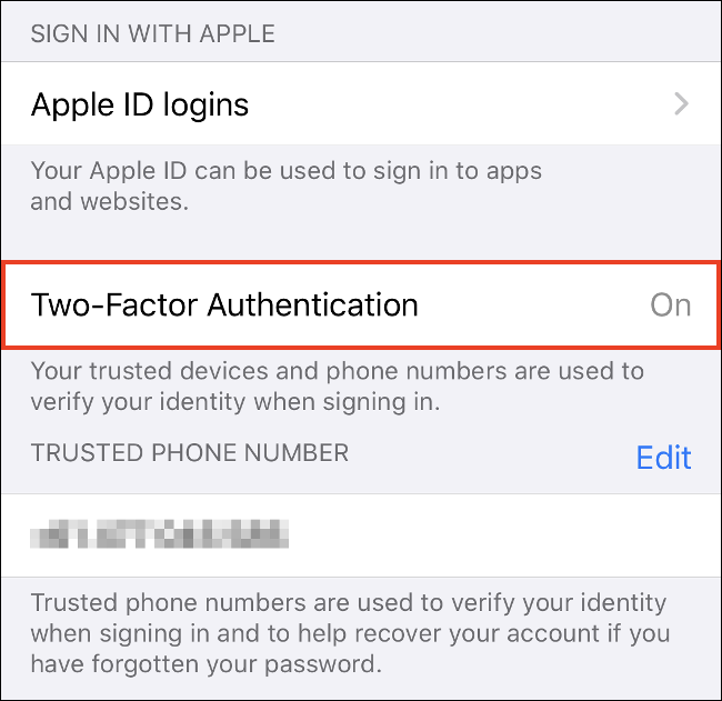"""Tap """"Turn On Two-Factor Authentication"""" on iPhone."""