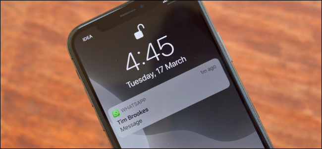 A WhatsApp notification with the preview hidden on iPhone.
