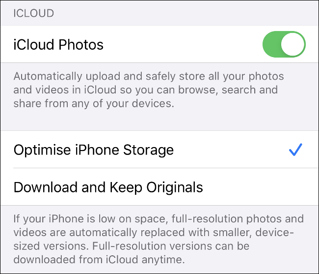 "Toggle-On the ""iCloud Photos"" option on iOS,"