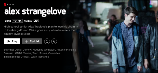 "The ""Alex Strangelove"" page on Netflix."