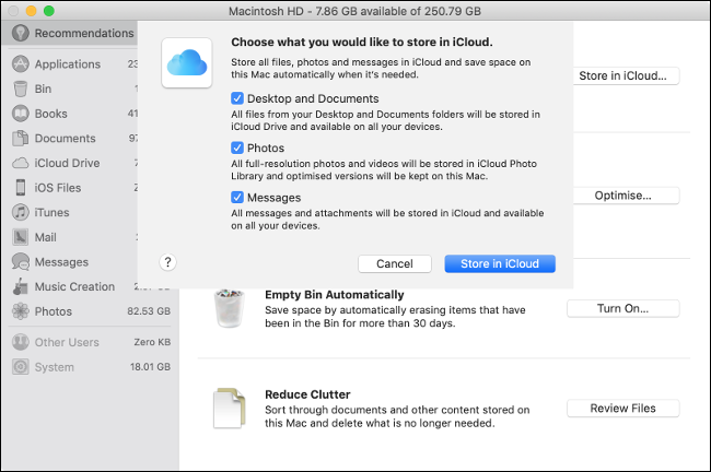 """The """"Choose What You Would Like to Store in iCloud"""" menu on macOS."""