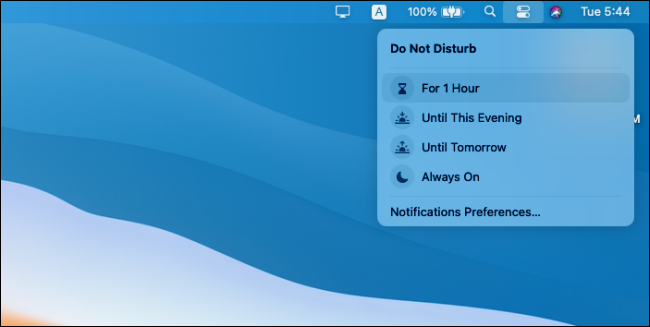 Do Not Disturb options in the Mac Control Center.