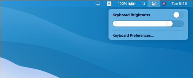 Keyboard brightness controls in macOS Big Sur.