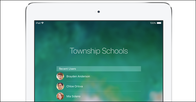 Multiple student user accounts on a school's iPad.