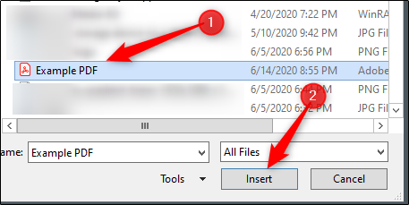 Select and insert pdf file