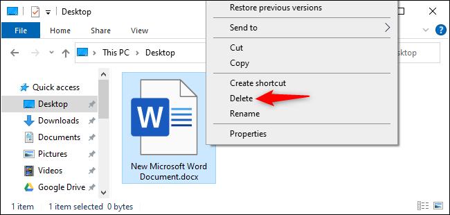 Deleting a file in File Explorer.