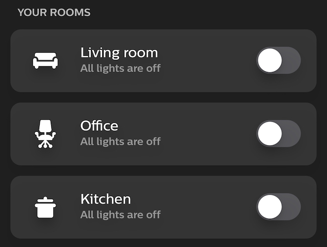 """The """"Your Rooms"""" menu in the Philips Hue app."""
