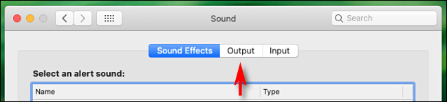 Click Output tab in Sound preferences on Mac