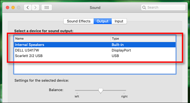 Select an audio output device in Sound preferences on Mac