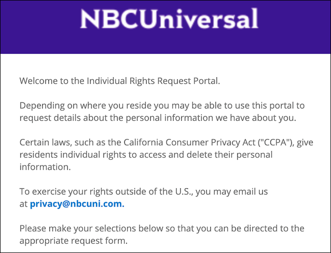 NBCUniversal individual rights request portal