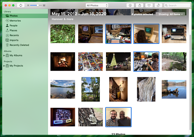 Select multiple photos to print in Photos on Mac