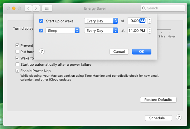 "The automatic startup and shutdown settings in the ""Energy Saver"" menu."