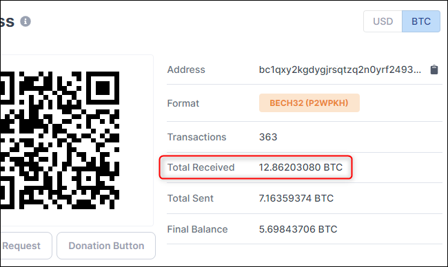 Seeing how much BTC a Bitcoin account has received.