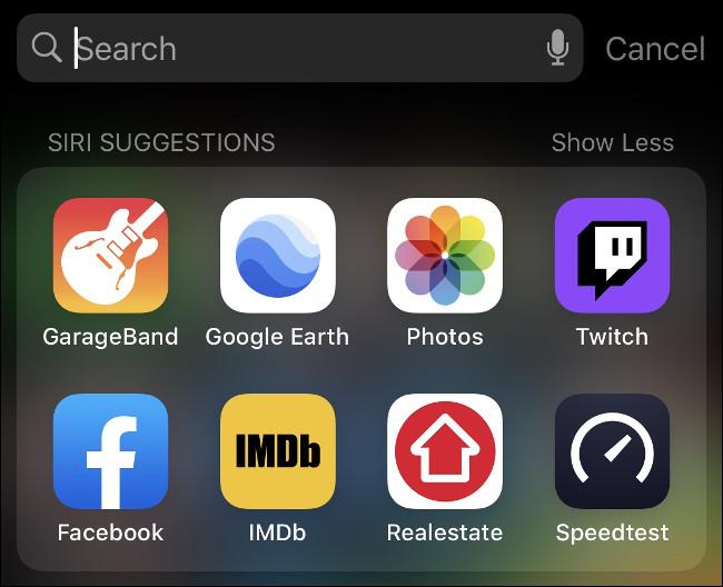 Spotlight search results.