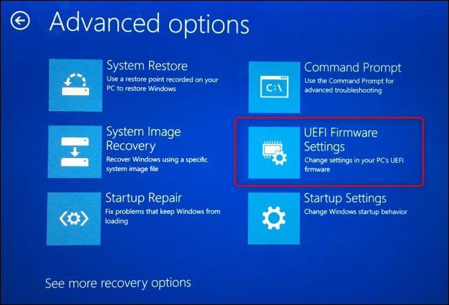 The UEFI FIrmware Settings option on Windows 10's advanced boot options screen.