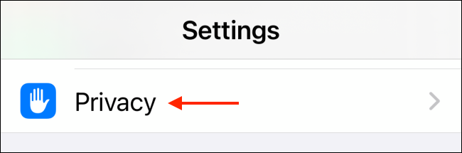 Tap Privacy in Settings