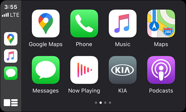 App icons in Apple CarPlay on an infotainment screen in a vehicle.