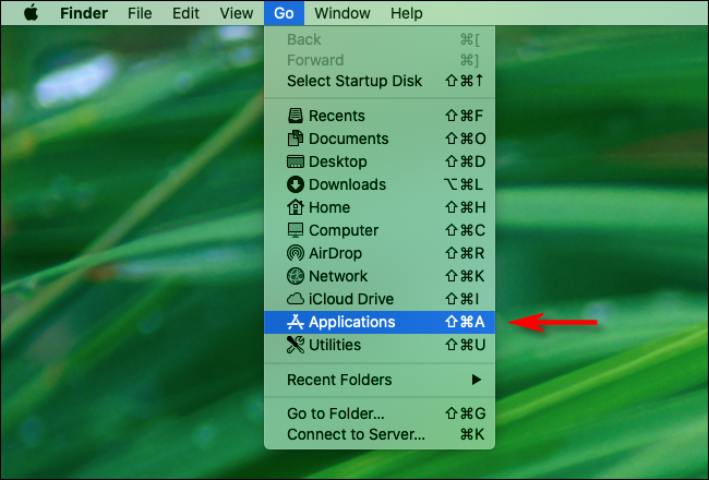 "Click ""Go"" in Finder and Select ""Applications."""