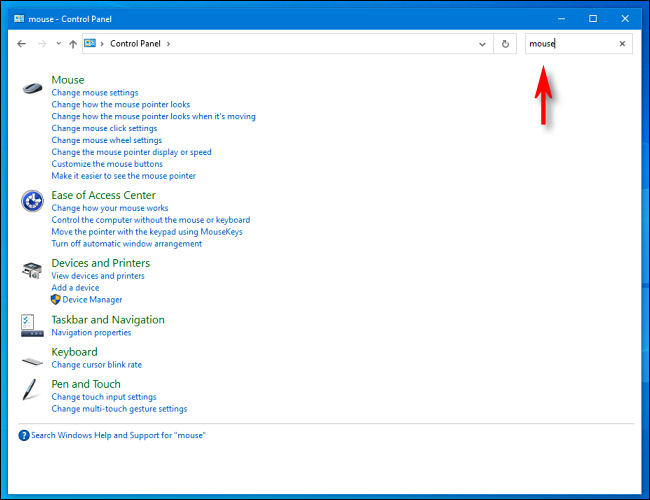 Click the Control Panel search bar and type your search in Windows 10.