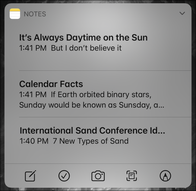 Using the Notes widget on iPhone