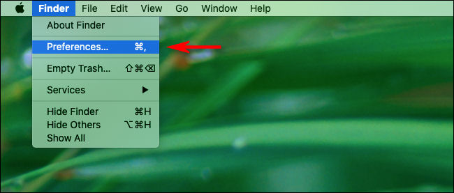 "Click ""Finder"" then ""Preferences"" in the macOS menu bar."