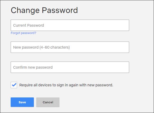 Netflix's Change Password web form.