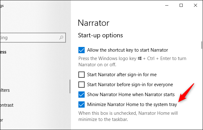 "Windows 10's Narrator options referring to a ""system tray."""