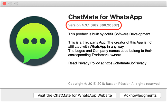 "An ""About"" dialog box for ""WhatsApp"" with the version number."