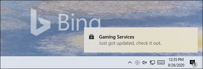 "A Store notification on Windows 10 saying an app ""Just got updated, check it out."""