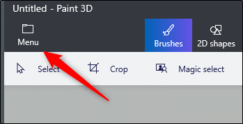 Menu option in paint 3d