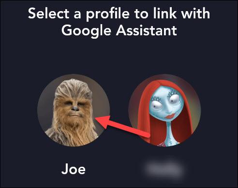 select the user profile