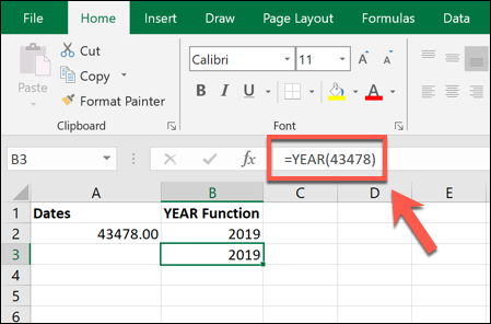 An Excel formula using the YEAR function, extracting a year from a 5-digit serial number counting from 1st January 1900.