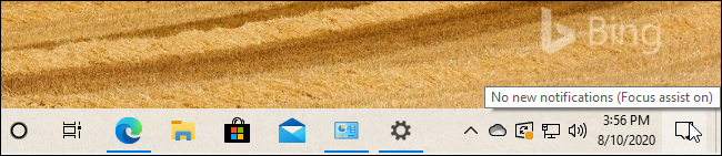 "A ""Focus Assist on"" tool-tip message from Windows 10's taskbar."
