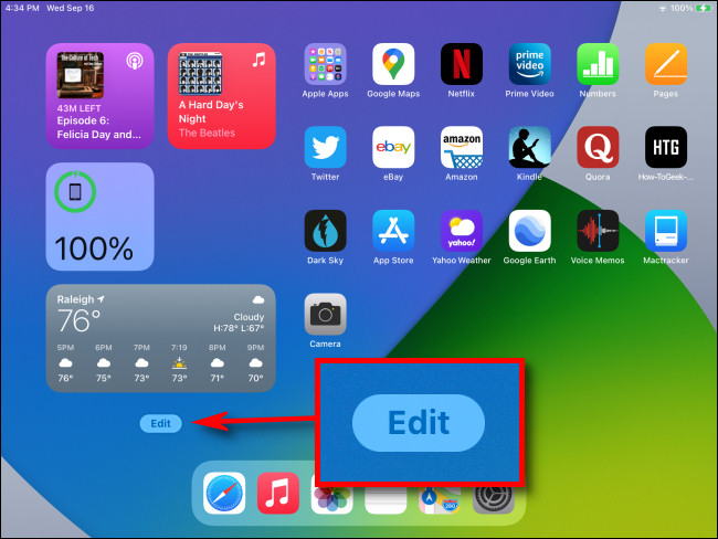 "At the bottom of Today View on your iPad Home Screen, tap the ""Edit"" button."
