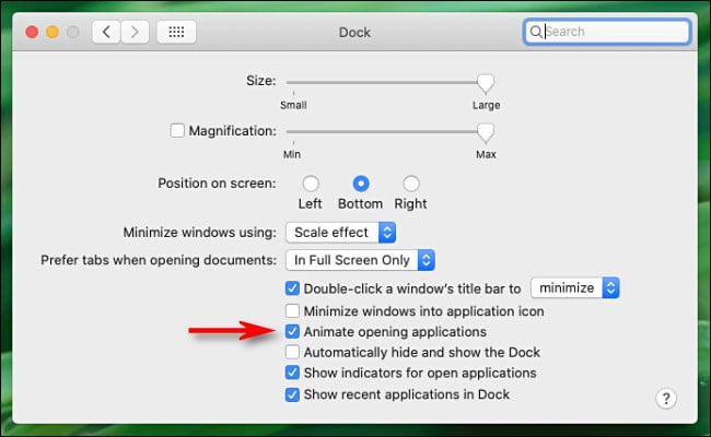 "In ""Dock"" prefrences on Mac, uncheck ""Animate opening applications."""