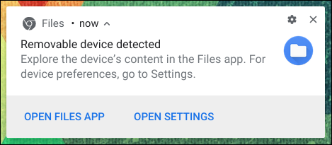 chromebook usb drive detected message