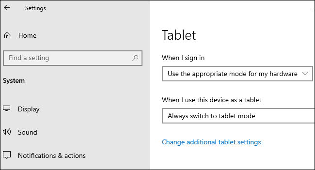 Tablet options under Settings > System > Tablet on Windows 10.