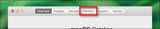 "In the ""About This Mac"" window, click the ""Memory"" tab."