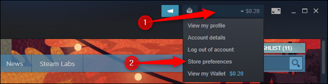 """Click """"Store preferences"""" in the Steam profile menu"""