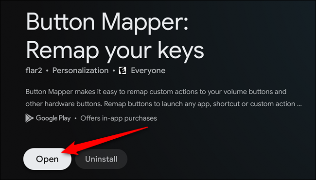 "Select the ""Open"" button once the Button Mapper app is installed"