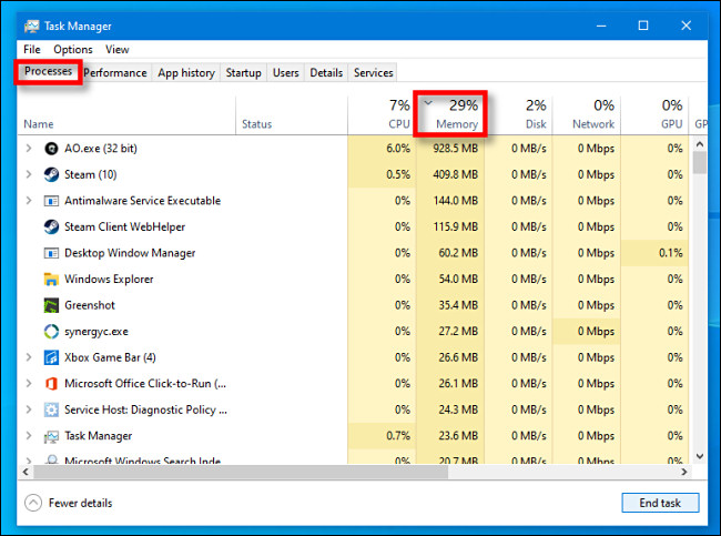 """In Task Manager for Windows 10, click the """"Processes"""" tab, then click the """"Memory"""" column header."""