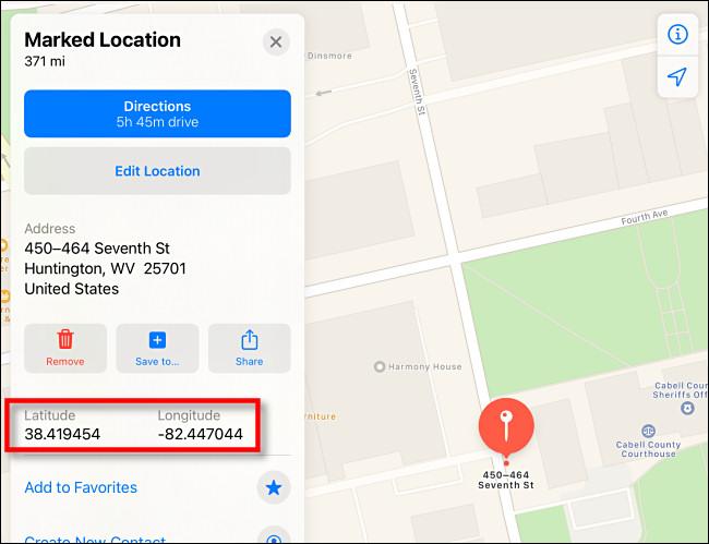 Latitude and Longitude shown in Apple Maps on iPad