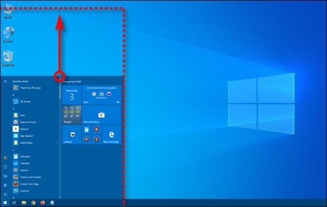 Vertically resizing the Windows 10 Start menu