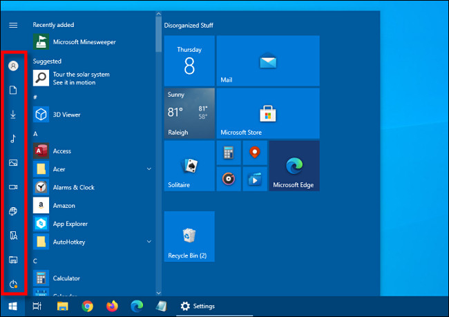 The collapsed shortcut sidebar in the Windows 10 Start menu